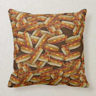 Hot Dogs Galore Brown Pillow