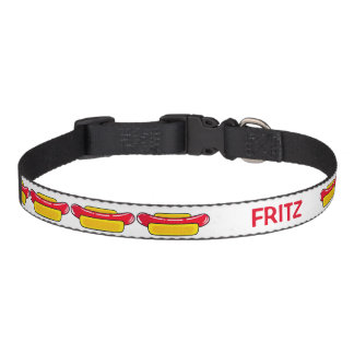 Hot Dogs on Pet Collar with Area to Personalize