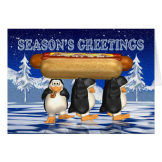 Hot Dogs, Onions, Bun, Christmas Card - Penguins