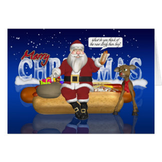 Hot Dogs, Onions, Bun, Christmas Card - Santa And