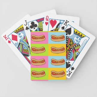 hot dogs tiled design bicycle playing cards