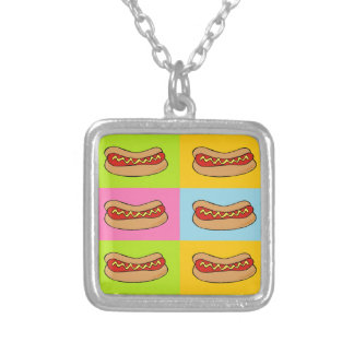 hot dogs tiled design square pendant necklace