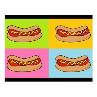 hot dogs tiled design postcard