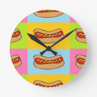 hot dogs tiled design round clock