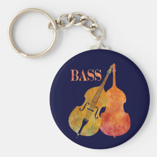 Hot Double Bass Basic Round Button Keychain