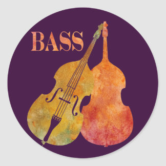 Hot Double Bass Classic Round Sticker