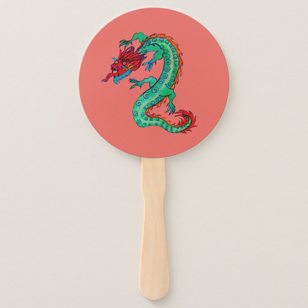 Hot Dragon Design on Hand Fan