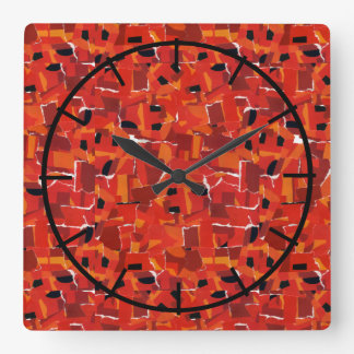 Hot Faux Mosaic Collage Square Wall Clock