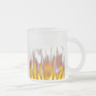 Hot Fiery Burning Flames 10 Oz Frosted Glass Coffee Mug