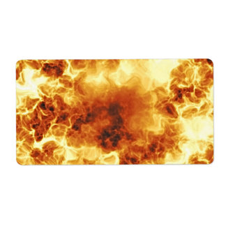 Hot Fiery Exploding Flames Shipping Label