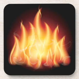HOT FIRE FLAMES VECTOR GRAPHIC BEVERAGE COASTERS