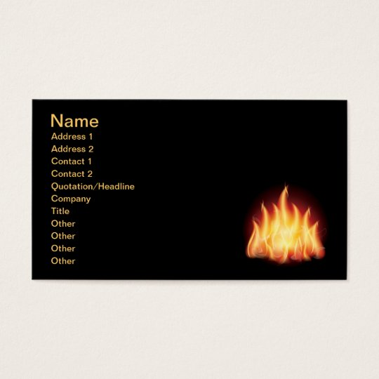 HOT FIRE FLAMES VECTOR GRAPHIC BUSINESS CARD