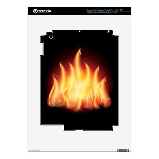 HOT FIRE FLAMES VECTOR GRAPHIC iPad 3 SKIN