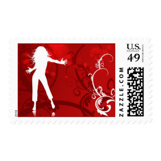 HOT FIRE RED DANCING CLUB PARTY WOMAN GIRL BABE WH POSTAGE
