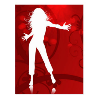HOT FIRE RED DANCING CLUB PARTY WOMAN GIRL BABE WH POSTCARD