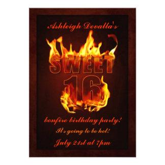 Hot Fire Sweet 16 Bonfire Party Invitation