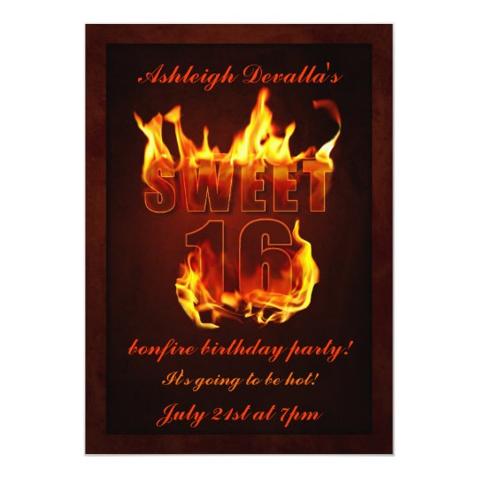 hot fire sweet 16 bonfire party invitation | zazzle, Party invitations