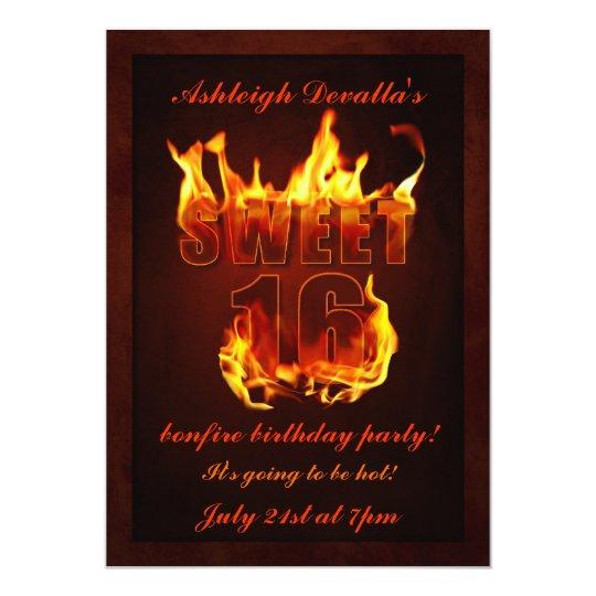 hot fire sweet 16 bonfire party invitation - Bonfire Party Invitations