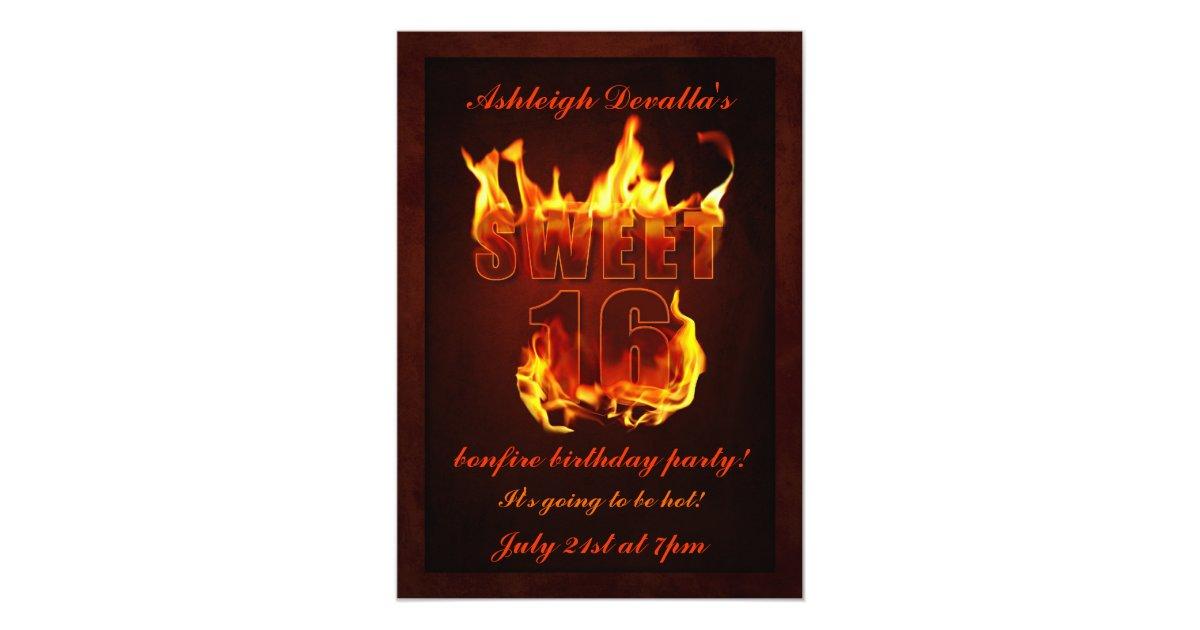 Hot Fire Sweet 16 Bonfire Party Invitation | Zazzle.com