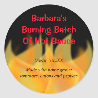 Hot Fire Themed Food Label