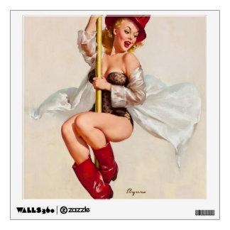Hot Firefighter Pinup Girl Wall Sticker