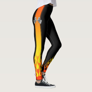 Hot Flames Car Racing Flags Decor on Leggings