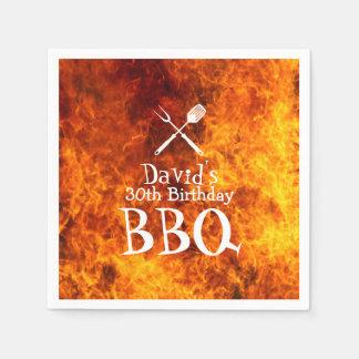Hot Flaming Fire Birthday BBQ Party Napkin