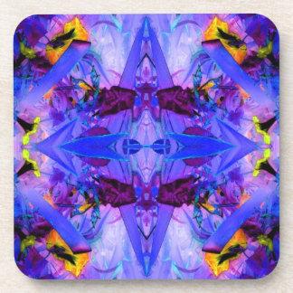 Hot Flowers Blue Jungle Garden Abstract Art Beverage Coaster