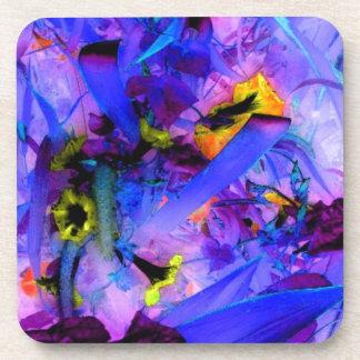 Hot Flowers Blue Jungle Garden Abstract Art Drink Coasters