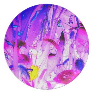 Hot Flowers Blue Jungle Garden Abstract Art Photo Dinner Plate