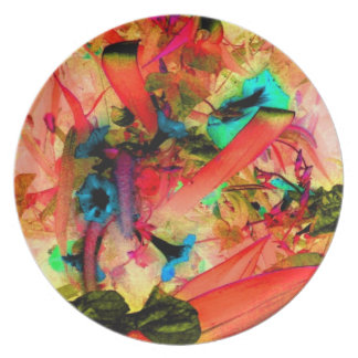 Hot Flowers Coral Jungle Garden Abstract Art Photo Plate
