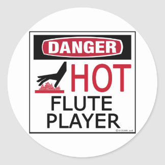 Hot Flute Player Classic Round Sticker