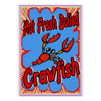 Hot Fresh Boiled Crawfish Sign