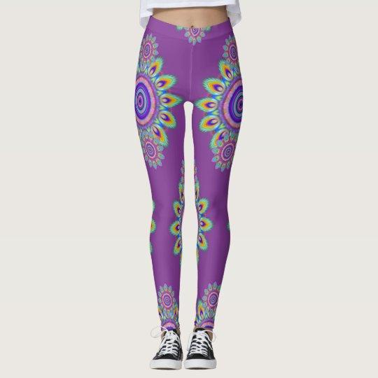 8129a465f Hot Frog Surf psychedelic BoHo leggings purple. | Zazzle.com