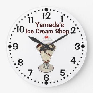 Hot Fudge Ice Cream Sundae Shop Custom Name Clock