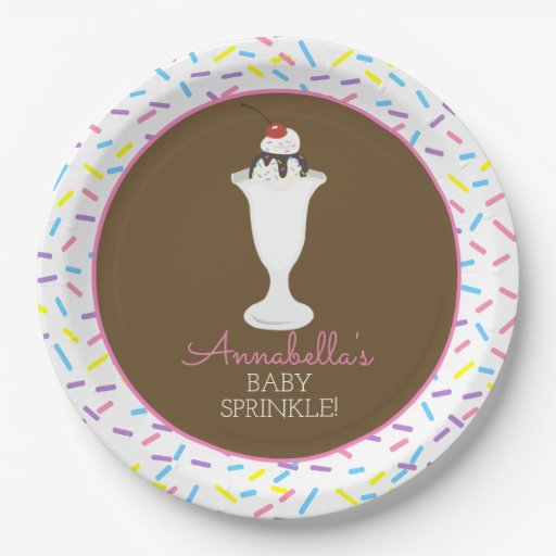 Hot Fudge Sundae Baby Sprinkle Plate Pink
