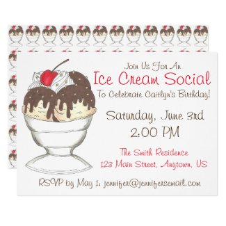 Hot Fudge Sundae Ice Cream Social Birthday Party Card