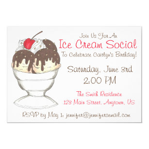 hot fudge sundae ice cream social birthday party invitation