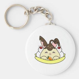 Hot Fudge Vanilla Hopdrop Split Basic Round Button Keychain