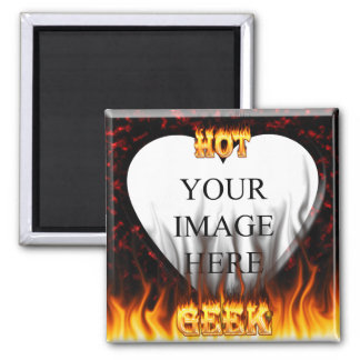 Hot Geek fire and flames red marble 2 Inch Square Magnet