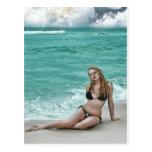 hot girl on the beach card post cards