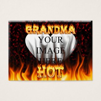 Hot Grandma fire and red marble heart Business Card
