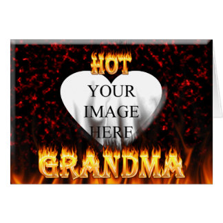 Hot Grandma fire and red marble heart Card