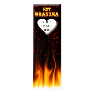 Hot Grandma fire and red marble heart Double-Sided Mini Business Cards (Pack Of 20)