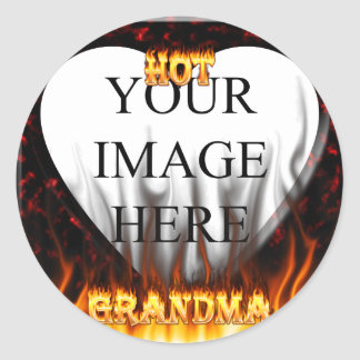 Hot Grandma fire and red marble heart Sticker