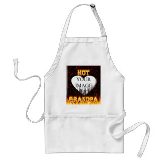 Hot grandpa fire and red marble heart. adult apron
