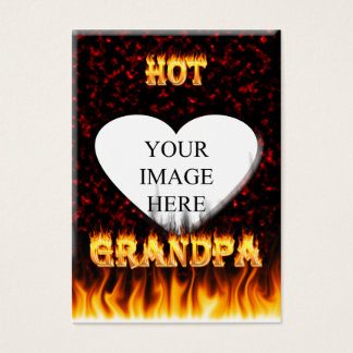 Hot grandpa fire and red marble heart. business card