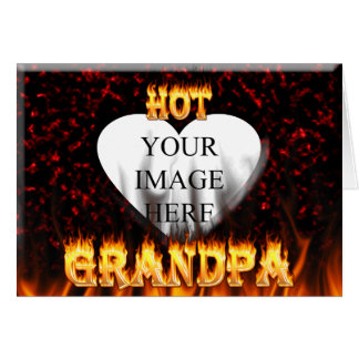 Hot grandpa fire and red marble heart. card