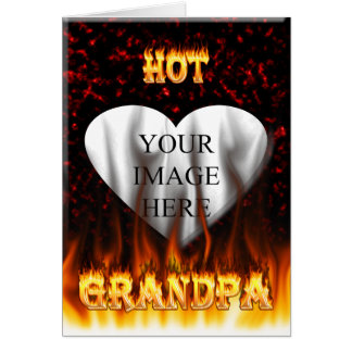 Hot grandpa fire and red marble heart. stationery note card
