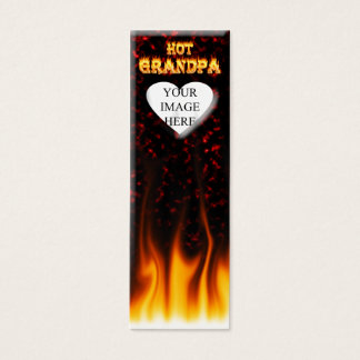 Hot grandpa fire and red marble heart. mini business card
